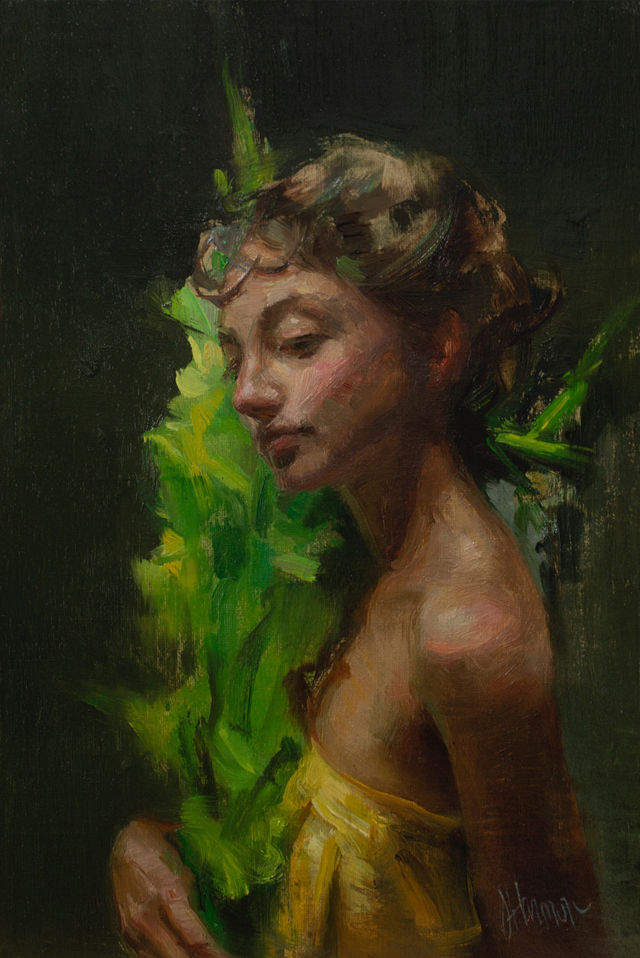 "Chartreuse oil on linen (12""x8"") 20.25""X16.25"" framed"