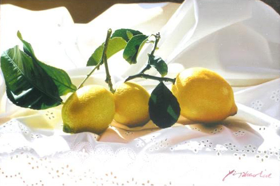 "Lemons And Lace oil on canvas 12""x18"""
